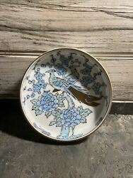 Vintage Hand Painted Japanese Blue And Gold Imari Peacock Porcelain Bowl