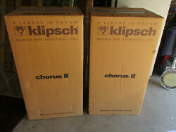 Klipsch Chorus Ii Speakers Pair Almost Mint In Original Boxes Ch2 No Intand039l Sales