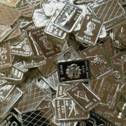 Bin Bonus All Cool All The Time Lot Of 10 Assorted 1 Gram Silver Bars