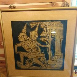Vintage Mid Century Framed Thai Temple Rubbing Gold On Black Cloth 24.75andtimes25.5