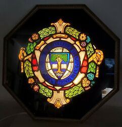 Antique 1911 Stained Glass Window Connecticut College For Women New London