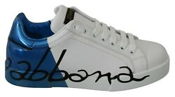 Dolce And Gabbana Shoes Sneakers White Blue Leather Logo Print Mens Eu39.5 / Us6.5