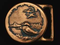 Colonial Leather Co Rare 1970s Hippie Duck Pond Solid Brass Vintage Belt Buckle