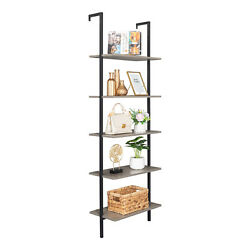 Wood Wall-mounted 5-tier Bookcase With Stable Metal Frame Storage Bookshelf Home