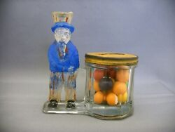 Antique Glass And Tin Toy Uncle Sam By Barrel Candy Container Bank Circa 1918