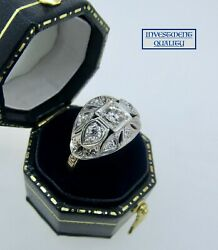 Antique Art Deco 1910and039s 14k Two Tone Gold Diamond Edwardian Engagement Ring