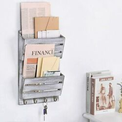Mail Sorter Wall Mount 2-slot Mail And Key Wood Holder Organizer With 4 Key Hooks