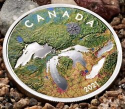 2021 Canada Great Lakes - Colorized 5 Oz. Pure Silver Coin