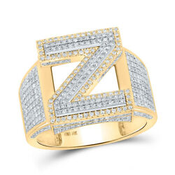 10kt Two-tone Gold Mens Round Diamond Z Initial Letter Ring 1 Cttw