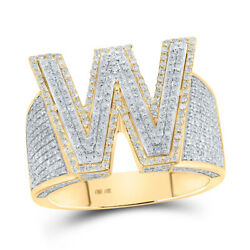 10kt Two-tone Gold Mens Round Diamond W Initial Letter Ring 1-1/3 Cttw
