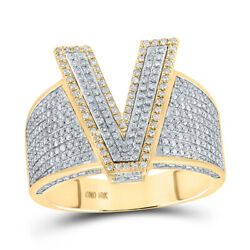 10kt Two-tone Gold Mens Round Diamond V Initial Letter Ring 1 Cttw