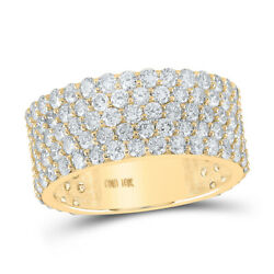 10kt Yellow Gold Mens Round Diamond 5-row Band Ring 5-3/8 Cttw