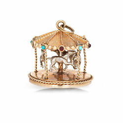 Vintage Carousel Charm 14k Gold Merry Go Round Ride Pendant Mechanical Moves