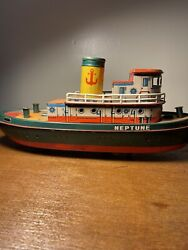 Vintage Tin Litho Battery Operated Neptune Tug Boat Modern Toys 50's Untested