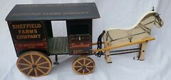 Antique Converse Toys Wooden Sheffield Farms Dairy Milk Horse Wagon Pull Toy