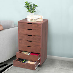 Practical Seven Drawers Mdf With Pvc Wooden Filing Cabinet Dark Walnut Color Us