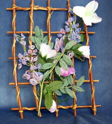Vintage French Hand Made Beaded Glass Seed Beads Flowers Wall Display