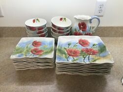 Maxcera Dish Set. Flowing Poppies Design. 25 Pc Set For 8