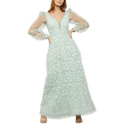 Bcbg Max Azria Womenand039s Floral Embroidered Long Sleeve Tulle Illusion Gown