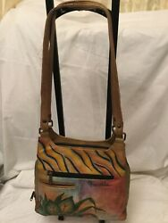 Anuschka Hand Painted Leather Handbags Butterfly Floral