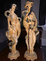 Vintage Statues Oriental Asian Mcm Hand Carved Alabaster Resin Chinese Man Woman