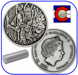 2021 Tuvalu Hades 1oz Antiqued Silver - Gods Olympus Series - Roll Of 20 Coins