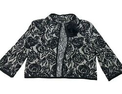 St. John Cardigan Sweater Floral Gray Black Cropped Half Sleeve Womens Size 2