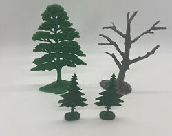 3 Different Kinds Of Vintage Marx Miniatures Stand Trees For Playsets
