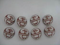 Antique/ Older Vintage Stamped Plastic Bird Lot Of 8 Shirt Buttons Collectible