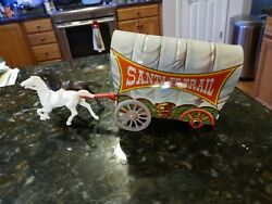 Vtg Tin Toy Santa Fe Trail Covered Wagon Lithograph Us Metal Co Parts Incomplete