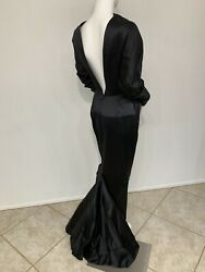Vintage Bernard Perris Paris Gothic Black Silk Wiggle Gown With A Fishtail 2-4