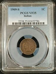 1909-s Indian Head Cent Pcgs Vf25 2238.25/41652786 Exquisite Coin Rare Key