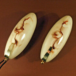 Rare Lamp - Old Antique Wall Lights Sconces Brass Glass Mid-century Modern 1950s