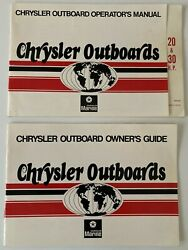 Chrysler Marine Outboards 20 Hp 30 Hp Owners Guide And Operators Manual 1970and039s
