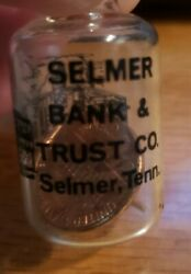 Vintage Selmer Bank And Trust Souvenir Grand Opening 1979 Penny In Glass Selmer