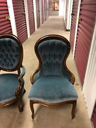 Antique Queen Anne Style High Back Arm Chairs