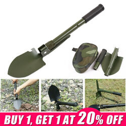 Army Military Folding Spade Shovel Pick Axe 4 In 1 Carbon Steel Camping Tool Wm