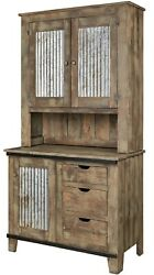 Amish Rustic Kitchen Hutch Pallet Furniture Aged Distressed Metal Door Inserts
