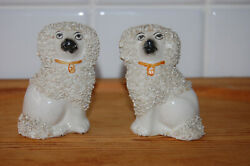 Pair Of Antique Porcelan English Staffordshire Poodle Dogs Figurine