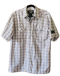 Harley Davidson Short Sleeve Button Up Shirt Men's With Patches Plaid Size Large