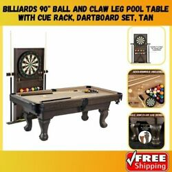 Billiard Pool Table Claw Leg With Dartboard Set Cue Rack And Ball Indoor Game