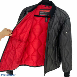 Rare Polo Jeans Team Racing Menandrsquos Leather Jacket Size M Quilted