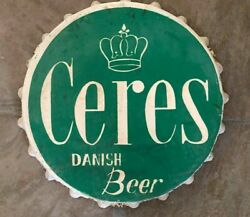 Vintage And Rare Ceres Danish Beer Handpainted Metal Button Sign Advert 1960s