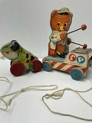 Vintage Fisher Price Wooden Pull Toys Tiny Teddy And Jolly Jumper