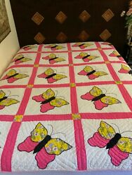 Vintage Quilt Hand Made Butterfly Patchwork Queen 100 Cotton