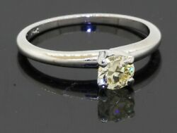 14k White Gold 0.55ct Natural Fancy Yellow Diamond Solitaire Ring Size 6