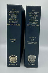 The Compact Edition Of The Oxford English Dictionary Volumes I And Ii Hc 1979 Flaw