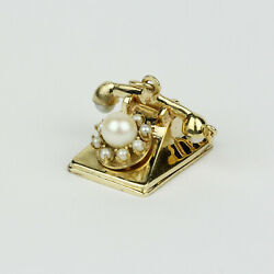 Vintage 14k Yellow Gold And Cultured Pearl Rotary Dial Telephone Charm Pendant
