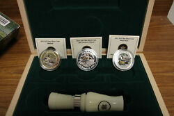 2013 And 2014 .9999 Fine Silver 10 Dollar Ducks Of Canada 3 Coin Set W/ Duck Call