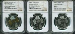 2005 Canada 1 - Set Of 3 - 40th Anniv Canada's National Flag - Ngc Ms70/pf69uc